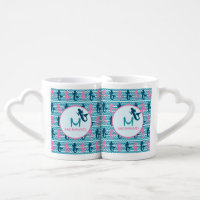Meerjungfrauen und Wellen-Kaffee-Tassen-Set