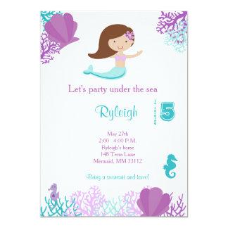 Meerjungfraugeburtstagseinladungen 12,7 X 17,8 Cm Einladungskarte
