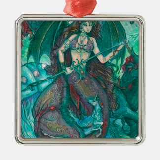 Meerjungfrauunicorn-Ozean-Seeaquamarines Grün Silbernes Ornament