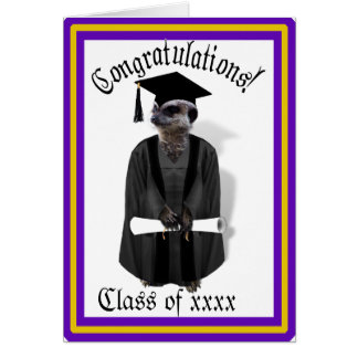 Meerkat graduiertes W/Grey Kleid u. schwarze Grußkarte