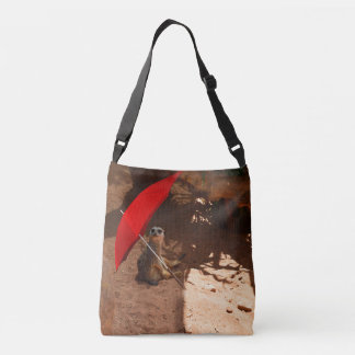 Meerkat_Sun_Smart_Full_Print_Cross_Body_Bag. Tragetaschen Mit Langen Trägern
