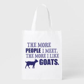 Mehr mag ich Ziegen Wiederverwendbare Einkaufstasche
