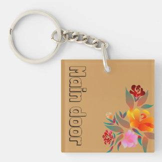 Mehrfarben-, Blumenmuster, Monogramm Schlüsselanhänger