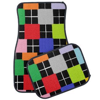 Mehrfarbenquadrat-Entwurfs-Set von 4 Auto-Matten Auto Fussmatte