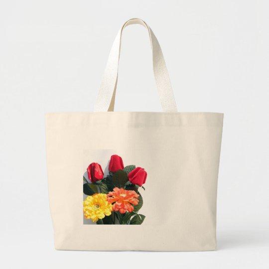 Mehrfarbige Blumen Jumbo Stoffbeutel