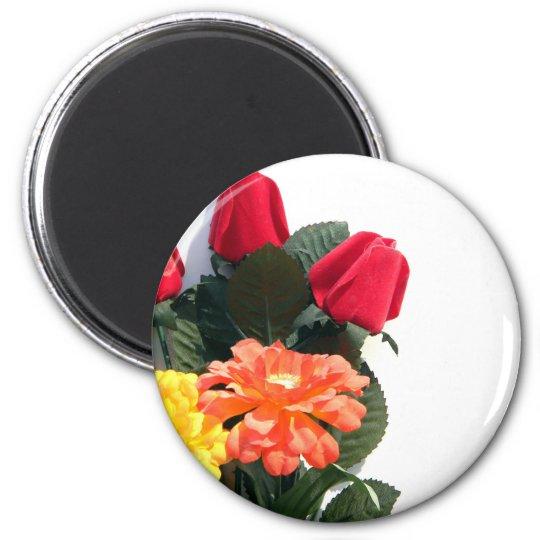 Mehrfarbige Blumen Runder Magnet 5,7 Cm