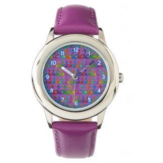 Mehrfarbige Flamingo-Armbanduhr mit Herzen Armbanduhr