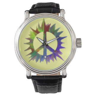 mehrfarbige Friedenssymboluhr Uhr
