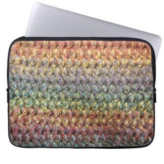 Mehrfarbige gestreifte gestrickte Häkelarbeit Laptop Sleeve Schutzhülle