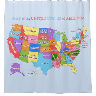 Mehrfarbige Karte der Vereinigten Staaten Duschvorhang