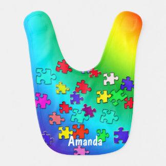 Mehrfarbige Puzzlestücke Babylätzchen