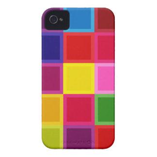 Mehrfarbige Quadrate und Streifen Girly iPhone 4 Cover