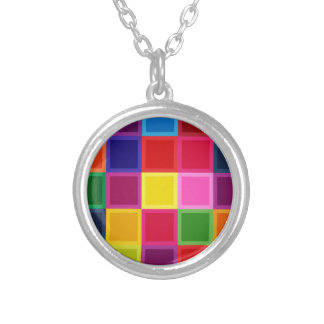 Mehrfarbige Quadrate und Streifen Girly Versilberte Kette
