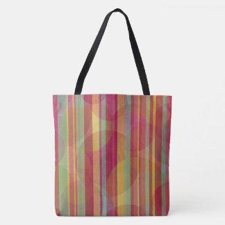 Mehrfarbige Streifen und Kreise Tasche