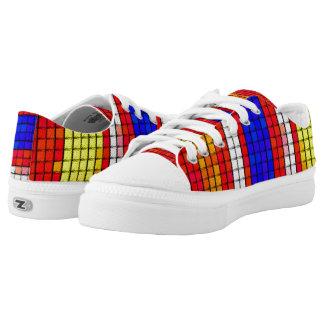 Mehrfarbiges abstraktes Gewebemuster Niedrig-geschnittene Sneaker