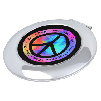 Mehrfarbiges Friedenszeichen Taschenspiegel