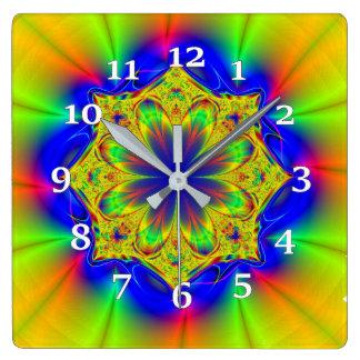 Mehrfarbiges Kaleidoskop Quadratische Wanduhr