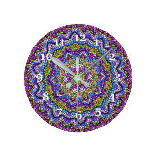 Mehrfarbiges Kaleidoskop Runde Wanduhr