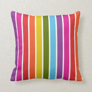 Mehrfarbiges Regenbogen-Streifen-Muster Kissen