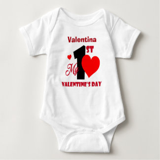 Mein 1. personalisierter Name des Valentines Tages Baby Strampler