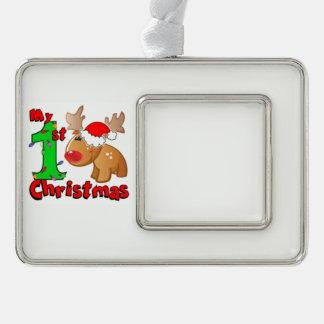 Mein 1. Weihnachtsren Rahmen-Ornament Silber