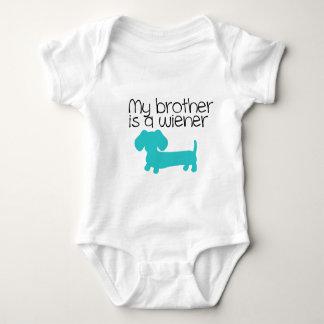 Mein Bruder ist eine Dackel (blauer Hundewelpe) Baby Strampler