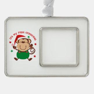Mein erster Weihnachtssankt-Affe Rahmen-Ornament Silber