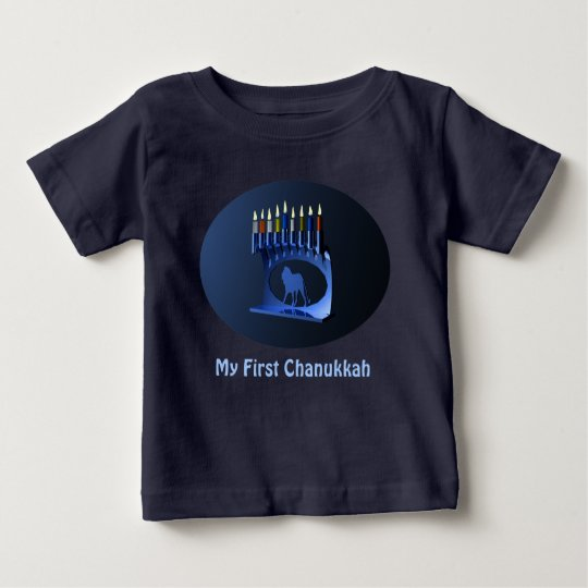 Mein erstes Chanukkah - glänzendes blaues Menorah Baby T-shirt