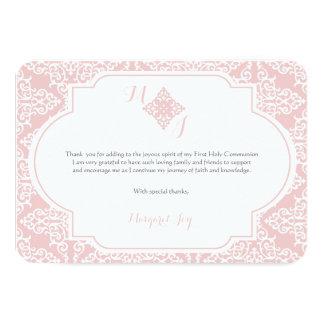 Mein erstes Kommunions-Rosa danken Ihnen zu 8,9 X 12,7 Cm Einladungskarte