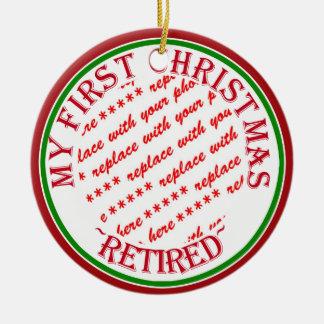 Mein erstes Weihnachten pensionierter Foto-Rahmen Rundes Keramik Ornament