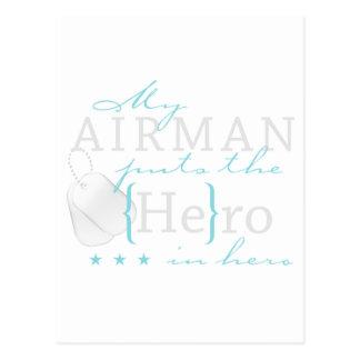 Mein Flieger setzt ihn in Held ein Postkarte
