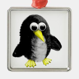 Mein Freund der Pinguin Quadratisches Silberfarbenes Ornament