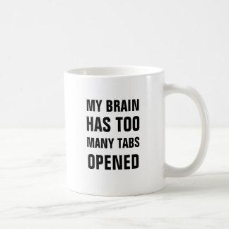 Mein Gehirn hat zu viele Vorsprünge geöffnete Kaffeetasse