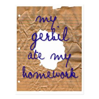 Mein Gerbil aß meine Hausaufgaben Postkarte