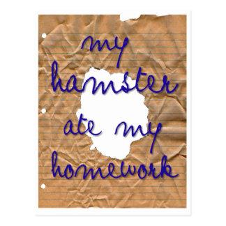 Mein Hamster aß meine Hausaufgaben Postkarte
