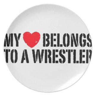 Mein Herz gehört einem Ringkämpfer Teller