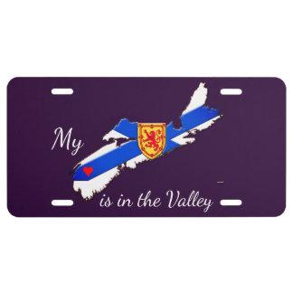 Mein Herz ist die lila Lizenzplatte des Tales N.S. US Nummernschild