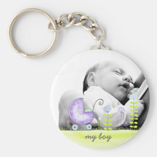 Mein Jungen-neues Baby-Ankunfts-Foto-Geschenk Standard Runder Schlüsselanhänger