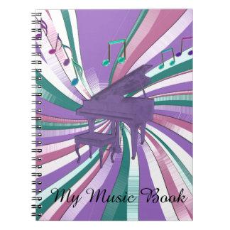 Mein Musik-lila Klavier-Regenbogen merkt Spiral Notizblock