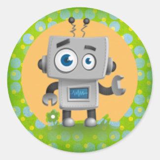 Mein Roboter-Aufkleber, glatt Runder Aufkleber