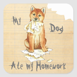 Mein Shiba Inu aß meine Hausaufgaben Quadrat-Aufkleber