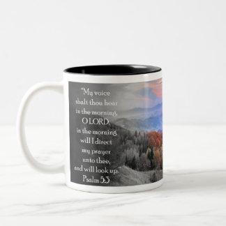 """""""Mein Stimmenshalt Tausend hören morgens… """" Zweifarbige Tasse"""
