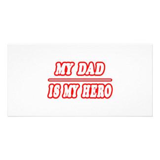 Mein Vati ist mein Held Photo Karte
