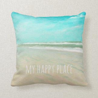 Meine glückliche Platz-Türkis-Himmel-Strand-Szene Kissen