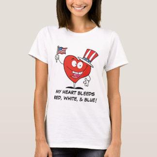 Meine Herzen blutet rotes weißes u. blau T-Shirt
