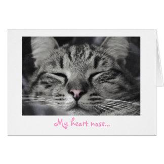 Meine Herznase… Miezekatze-Katzen-Gruß-Karte Karte