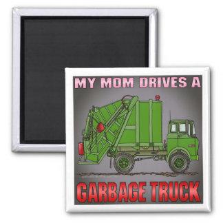 Meine Mamma fährt einen Abfall-LKW-Grün-Magneten Quadratischer Magnet