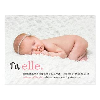 MEINE moderne Geburts-Namensmitteilung Postkarte