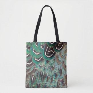 Melanistic Fasan versieht Nahaufnahme mit Federn Tasche