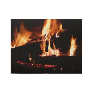 Meldet die Kamin-warme Feuer-Fotografie an Holzposter